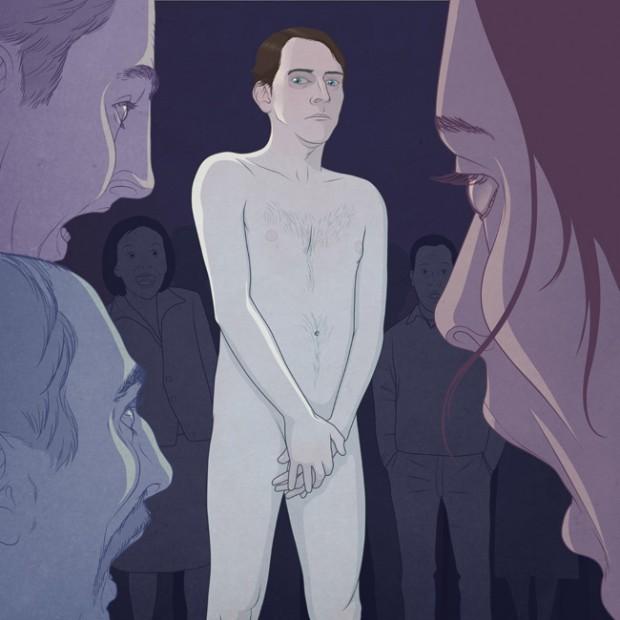 Aparecer desnudo frente a un grupo de gente