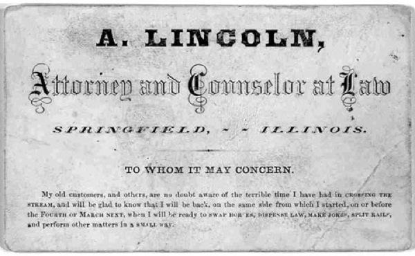 Tarjeta de Abraham Lincoln